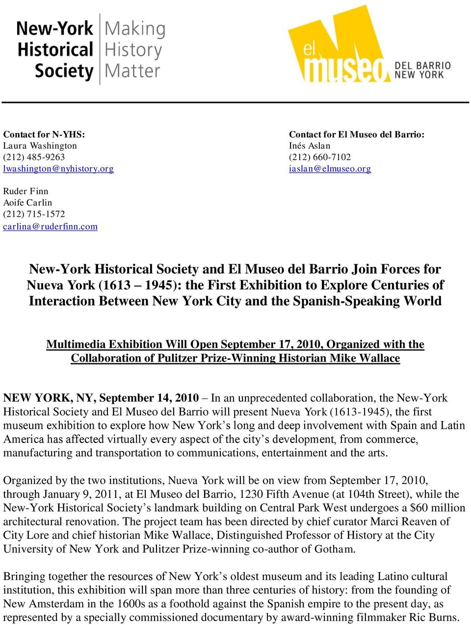 com New-York Historical Society and El Museo del Barrio Join Forces for Nueva York (1613 1945): the First Exhibition to Explore Centuries of Interaction Between New York City and the Spanish-Speaking