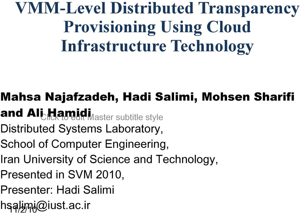 Infrastructure Technology Mahsa