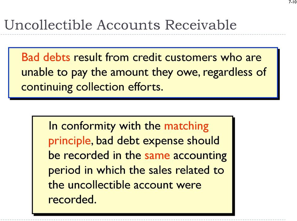 In conformity with the matching principle, bad debt expense should be recorded in the