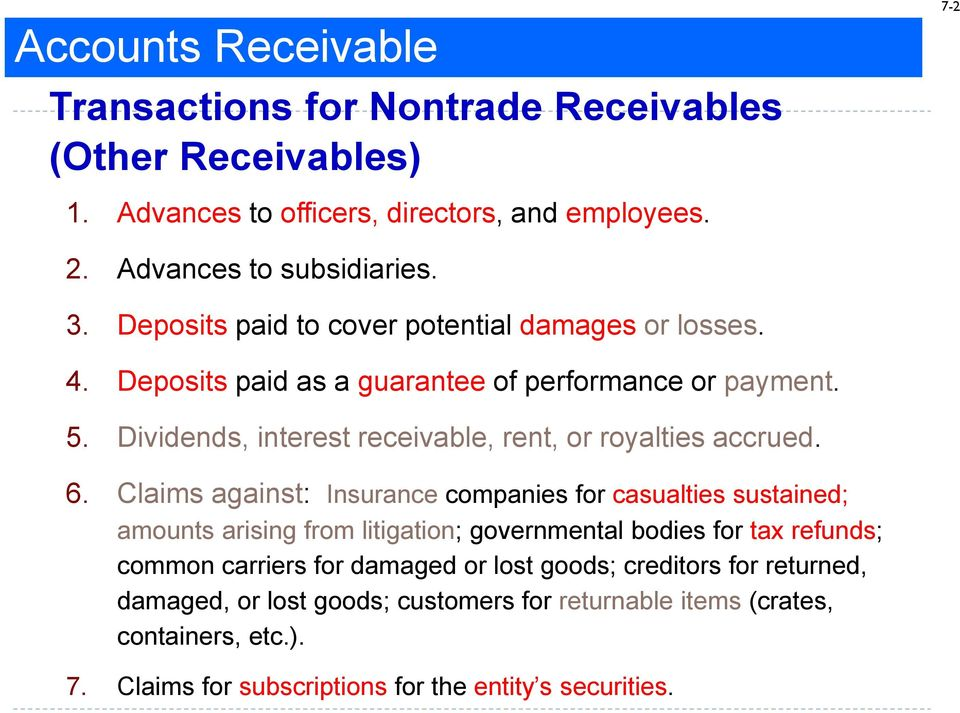 Dividends, interest receivable, rent, or royalties accrued. 6.