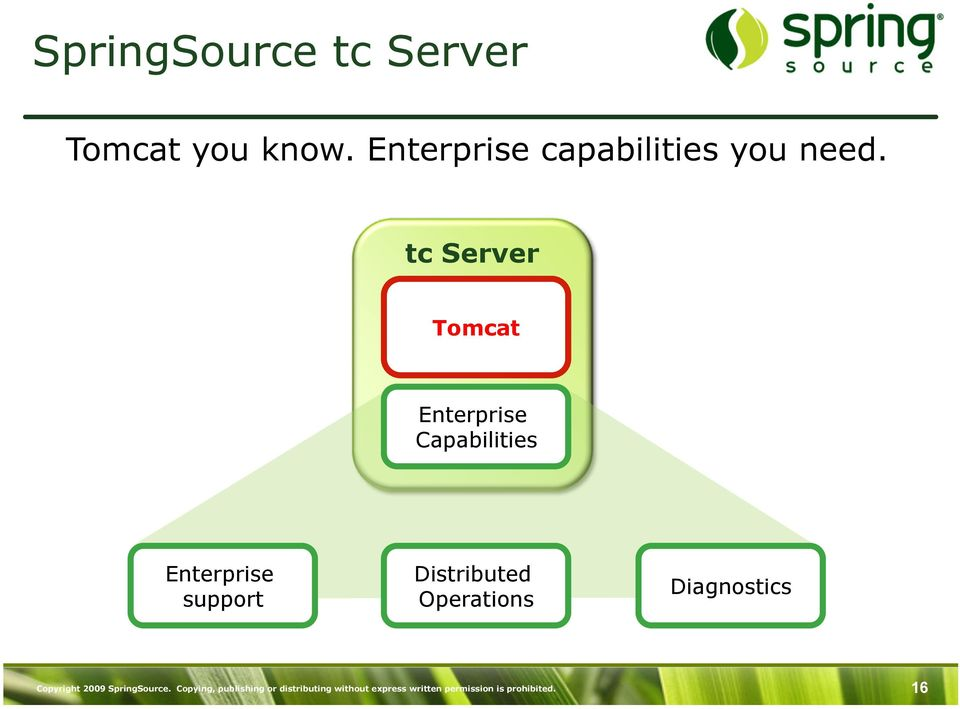 tc Server Tomcat Enterprise Capabilities Enterprise support Distributed