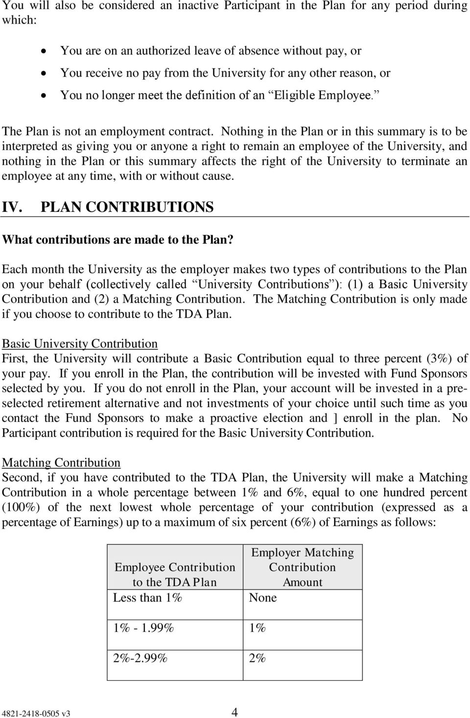 Nothing in the Plan or in this summary is to be interpreted as giving you or anyone a right to remain an employee of the University, and nothing in the Plan or this summary affects the right of the