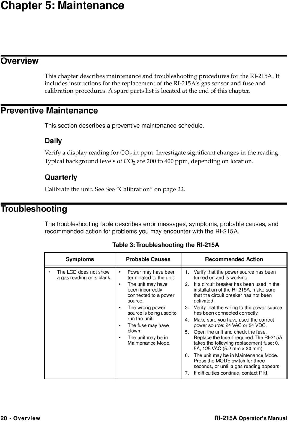 Preventive Maintenance This section describes a preventive maintenance schedule. Daily Verify a display reading for CO 2 in ppm. Investigate significant changes in the reading.