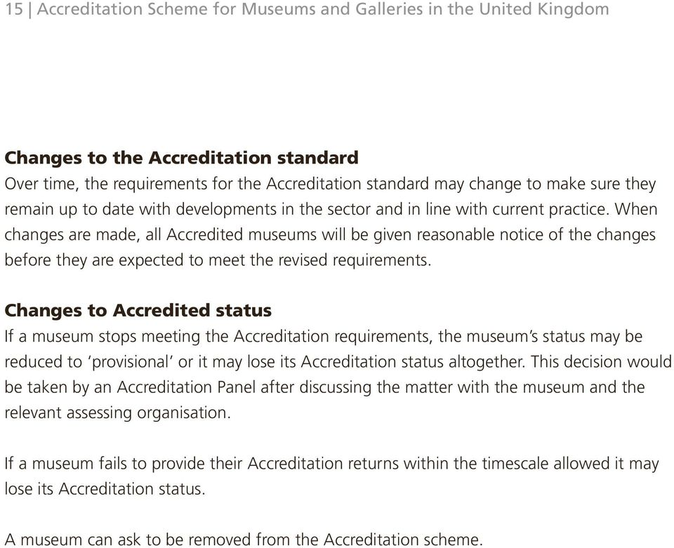 When changes are made, all Accredited museums will be given reasonable notice of the changes before they are expected to meet the revised requirements.