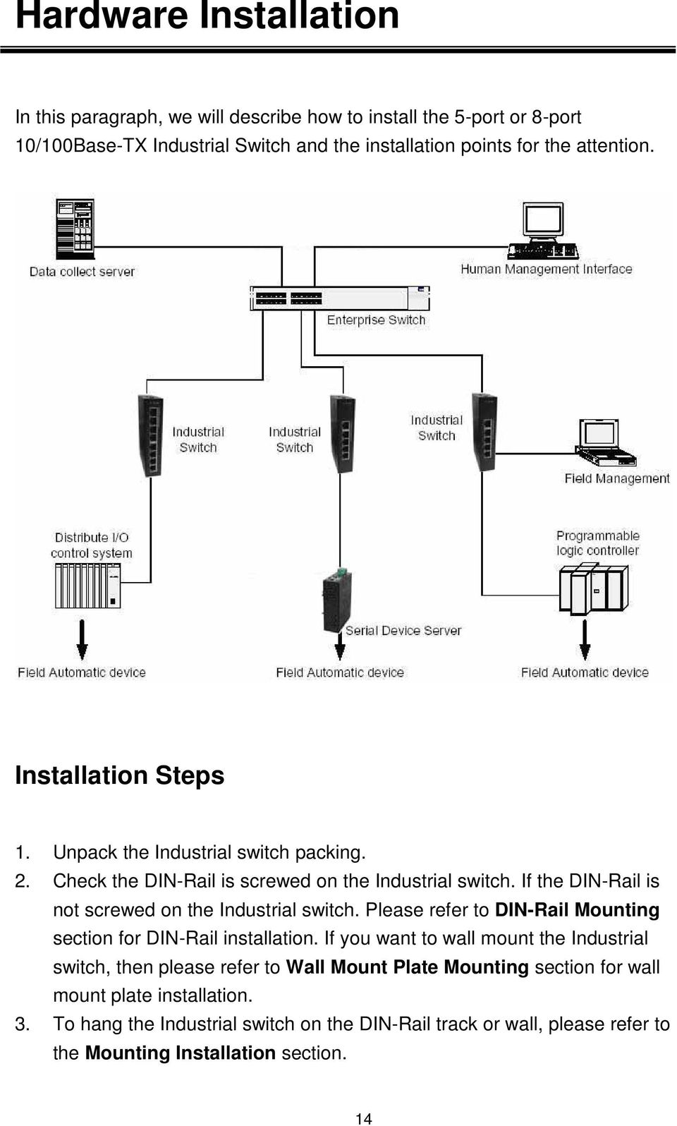 If the DIN-Rail is not screwed on the Industrial switch. Please refer to DIN-Rail Mounting section for DIN-Rail installation.