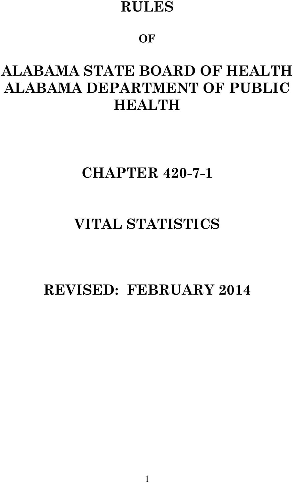 PUBLIC HEALTH CHAPTER 420-7-1