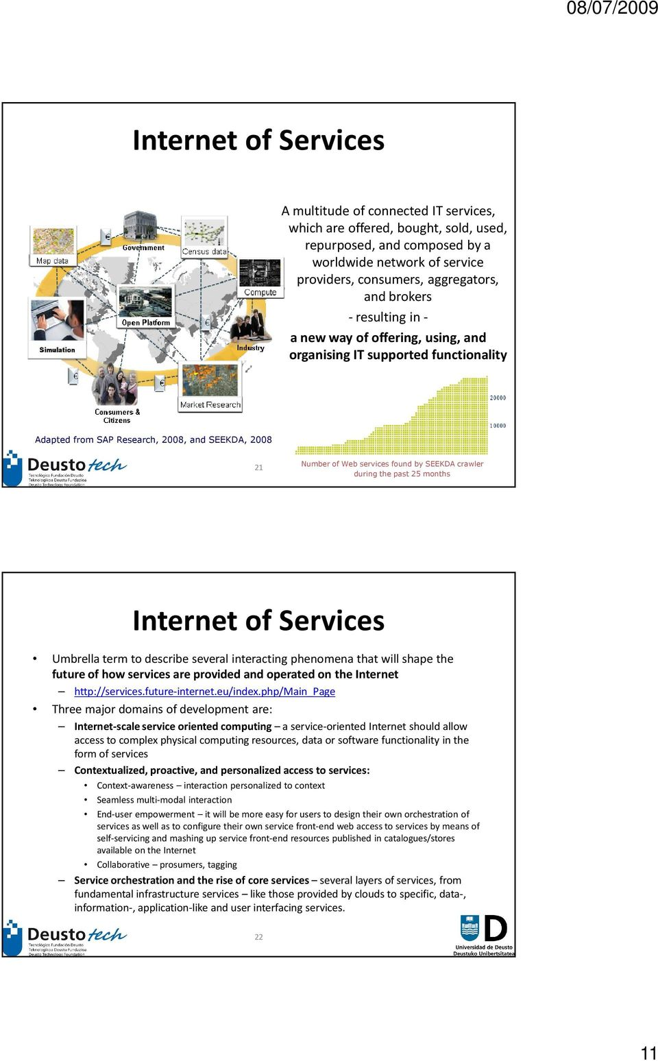 during the past 25 months Internet of Services Umbrella term to describe several interacting phenomena that will shape the future of how services are provided and operated on the Internet