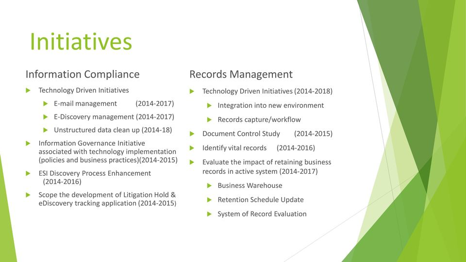 ediscovery tracking application (2014-2015) Records Management Technology Driven Initiatives (2014-2018) Integration into new environment Records capture/workflow Document Control Study