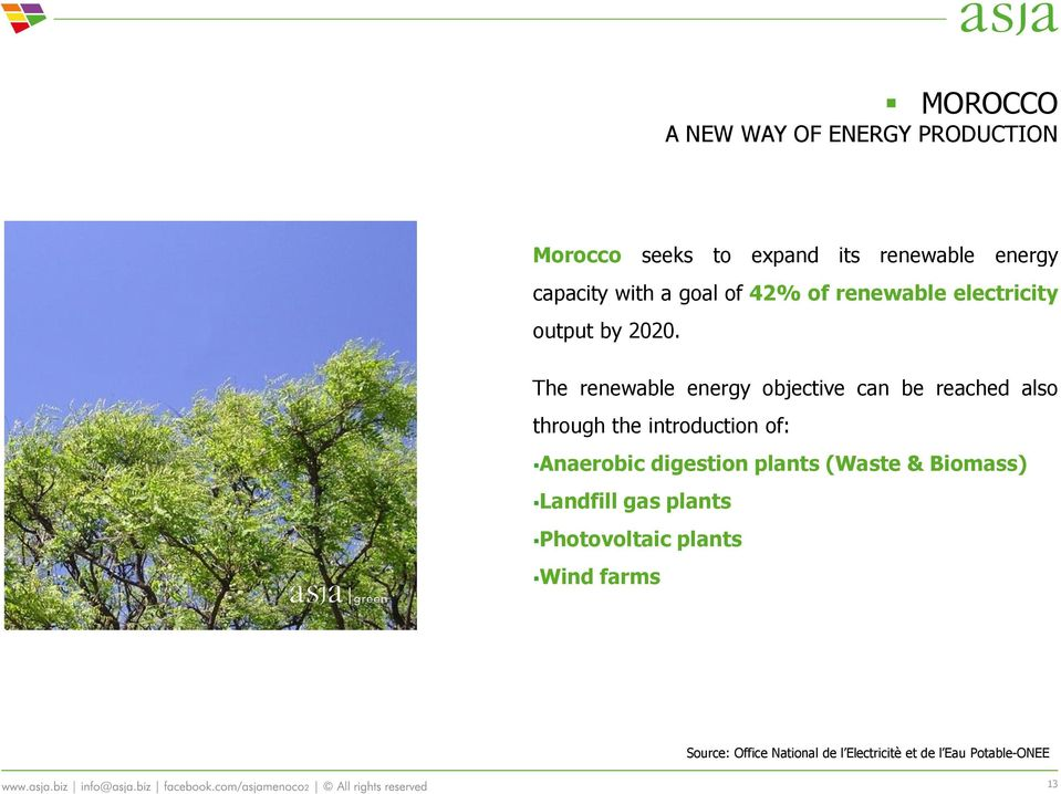 The renewable energy objective can be reached also through the introduction of: Anaerobic digestion