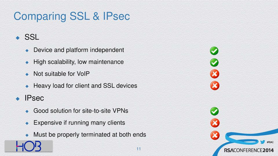 client and SSL devices IPsec Good solution for site-to-site VPNs