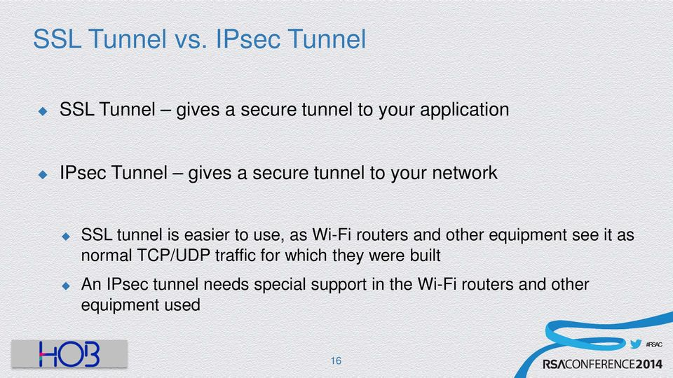 a secure tunnel to your network SSL tunnel is easier to use, as Wi-Fi routers and