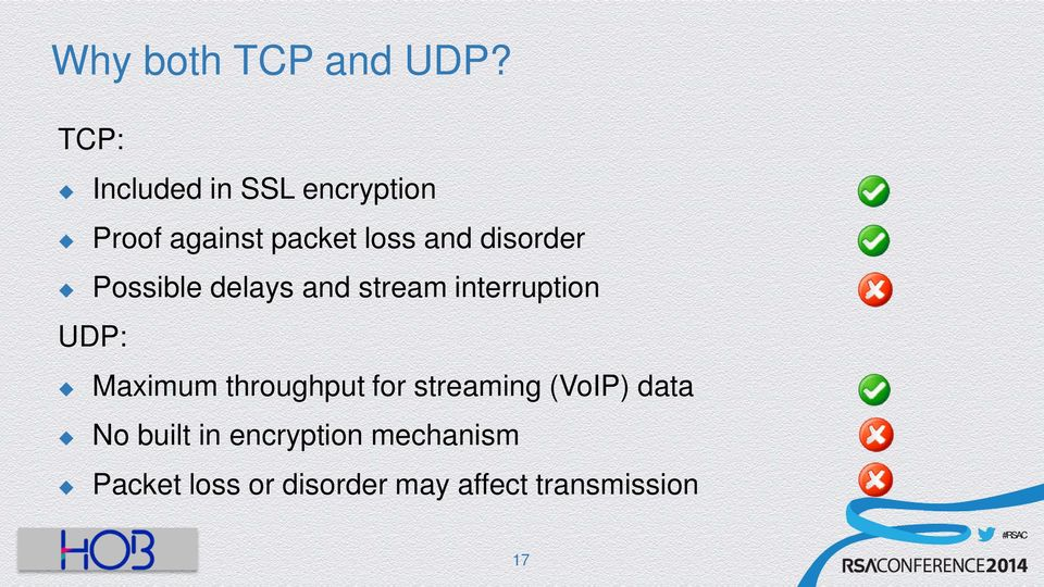disorder Possible delays and stream interruption UDP: Maximum