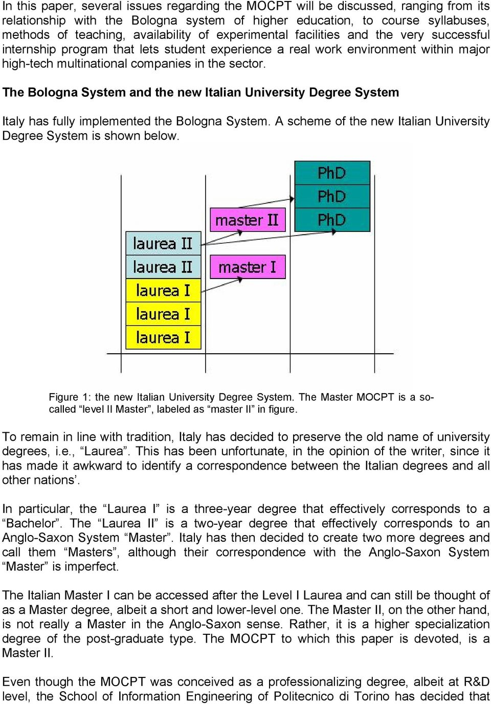 The Bologna System and the new Italian University Degree System Italy has fully implemented the Bologna System. A scheme of the new Italian University Degree System is shown below.