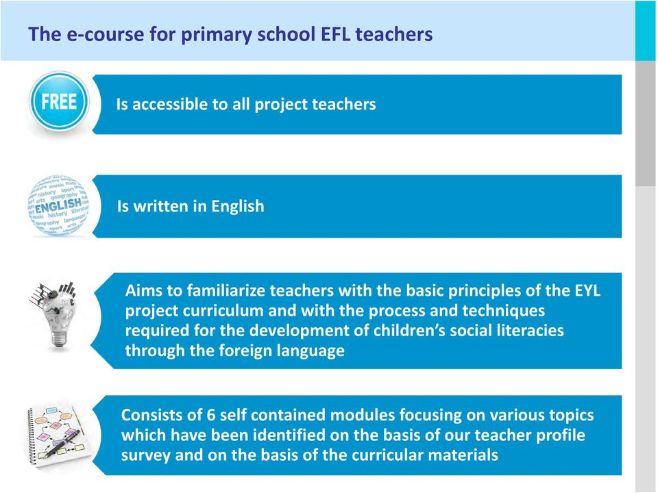 for the development of children s social literacies through the foreign language Consists of 6 self contained modules