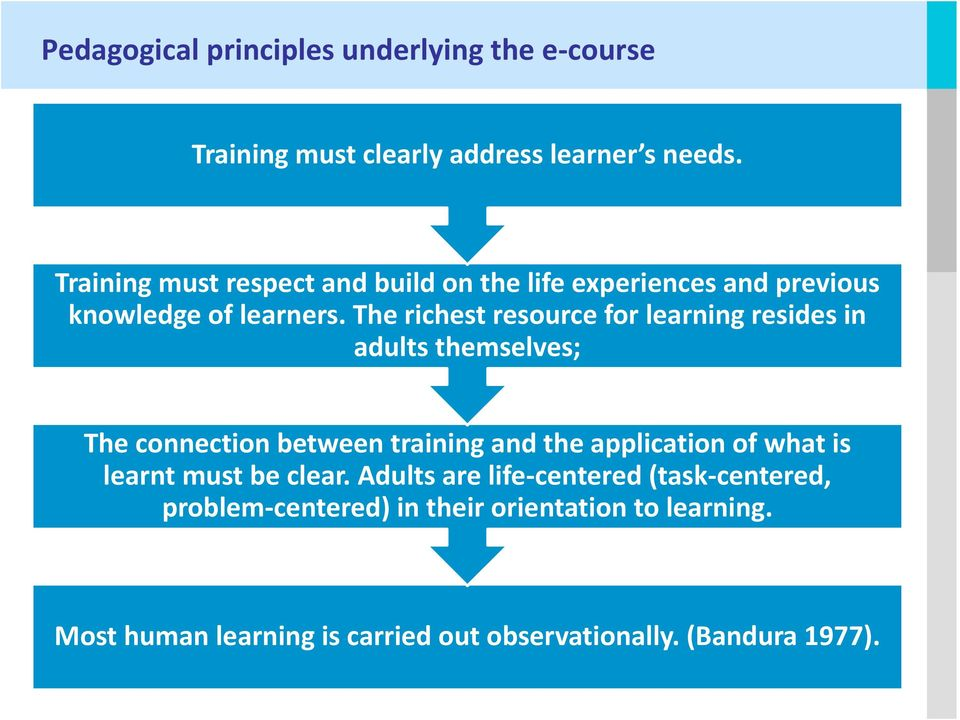 The richest resource for learning resides in adults themselves; The connection between training and the application of what