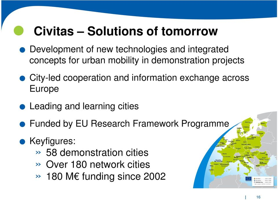 invoegen Civitas Solutions of tomorrow Development of new technologies and integrated concepts for urban mobility in demonstration projects City-led cooperation and