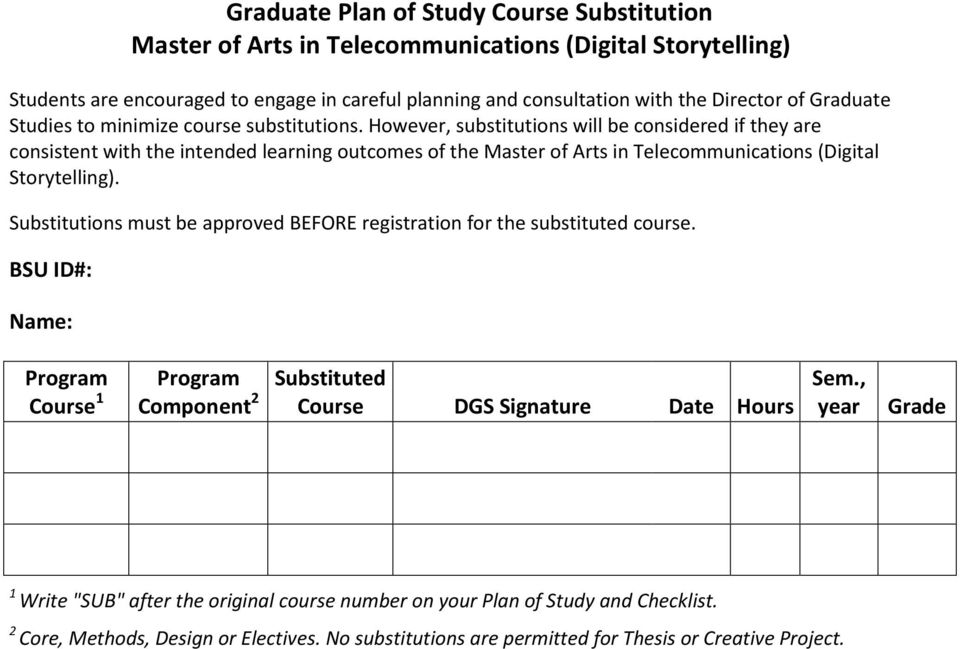 However, substitutions will be considered if they are consistent with the intended learning outcomes of the Master of Arts in Telecommunications (Digital Storytelling).