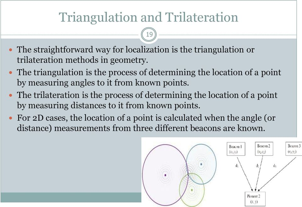 The trilateration is the process of determining the location of a point by measuring distances to it from known points.
