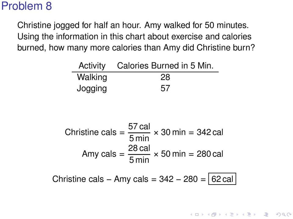 than Amy did Christine burn? Activity Calories Burned in 5 Min.