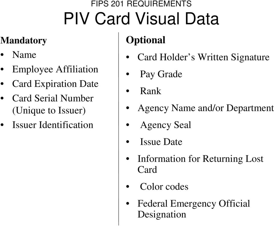 Card Holder s Written Signature Pay Grade Rank Agency Name and/or Department Agency Seal