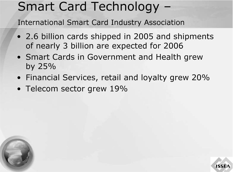 expected for 2006 Smart Cards in Government and Health grew by 25%