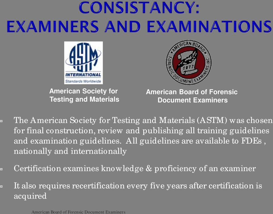 examination guidelines.