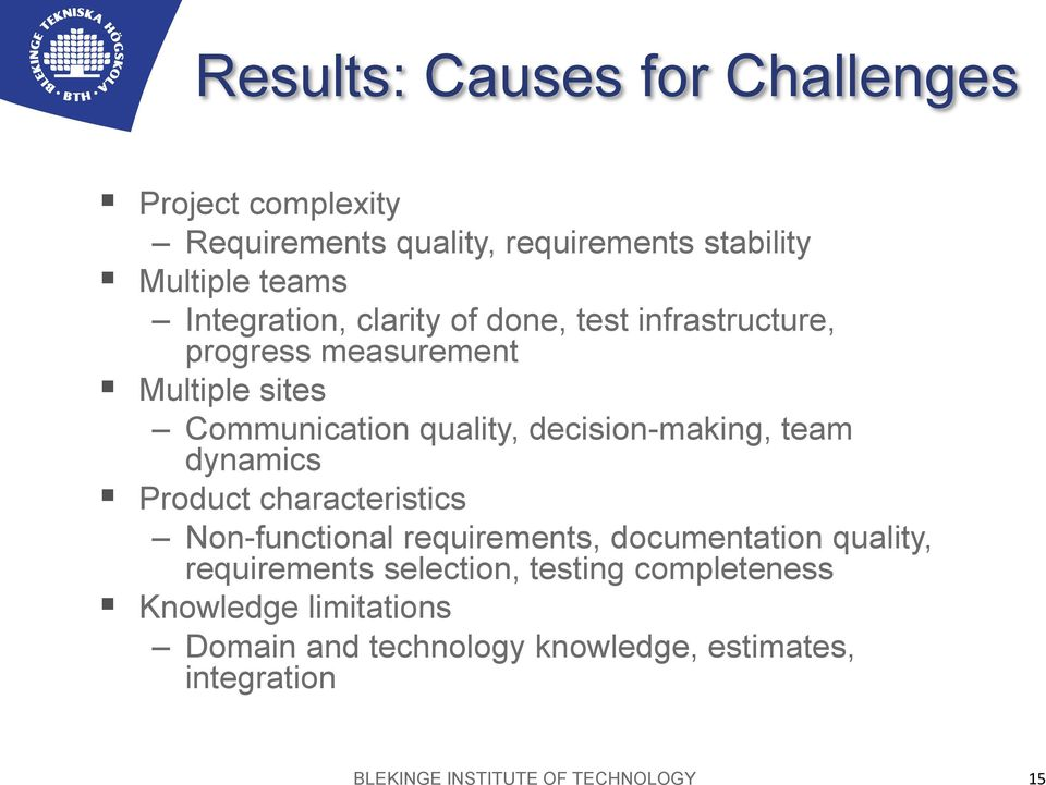 decision-making, team dynamics Product characteristics Non-functional requirements, documentation quality, requirements