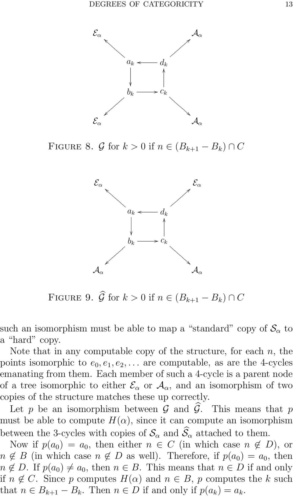 Note that in any computable copy of the structure, for each n, the points isomorphic to e 0, e 1, e 2,... are computable, as are the 4-cycles emanating from them.