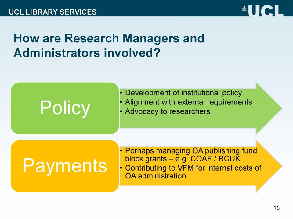 requirements Advocacy to researchers Payments Perhaps managing OA