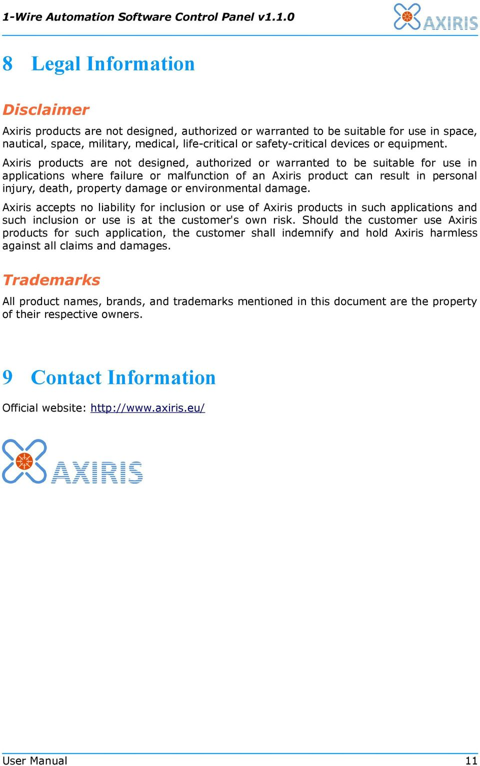 Axiris products are not designed, authorized or warranted to be suitable for use in applications where failure or malfunction of an Axiris product can result in personal injury, death, property