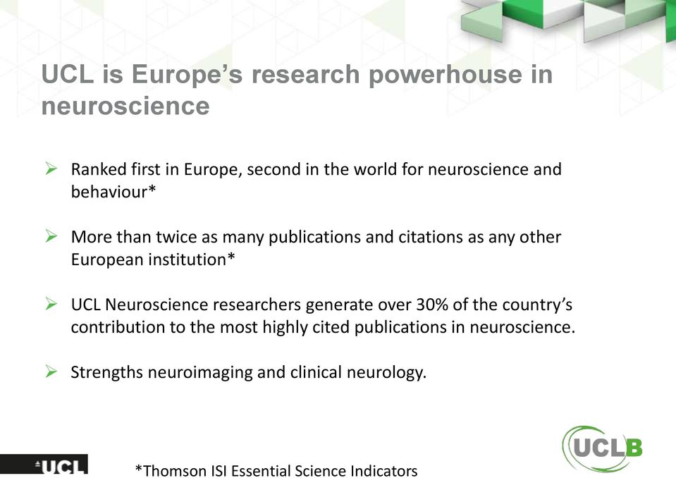 institution* UCL Neuroscience researchers generate over 30% of the country s contribution to the most highly