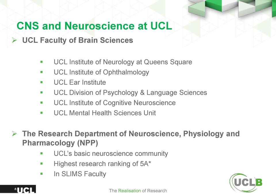 Cognitive Neuroscience UCL Mental Health Sciences Unit The Research Department of Neuroscience, Physiology and