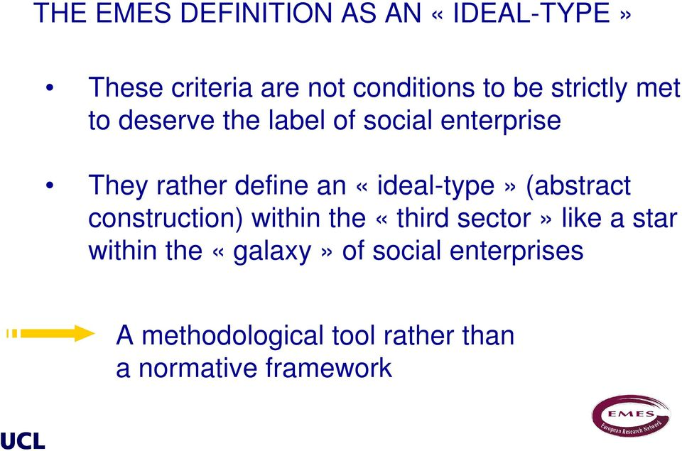 «ideal-type» (abstract construction) within the «third sector» like a star within