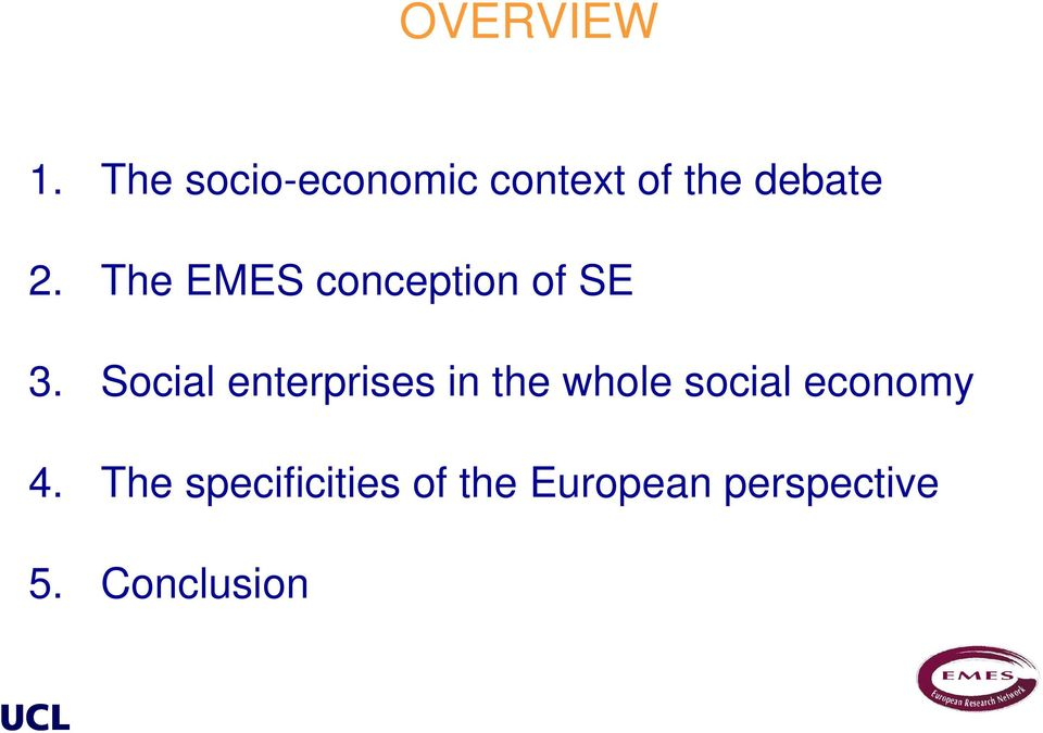 The EMES conception of SE 3.