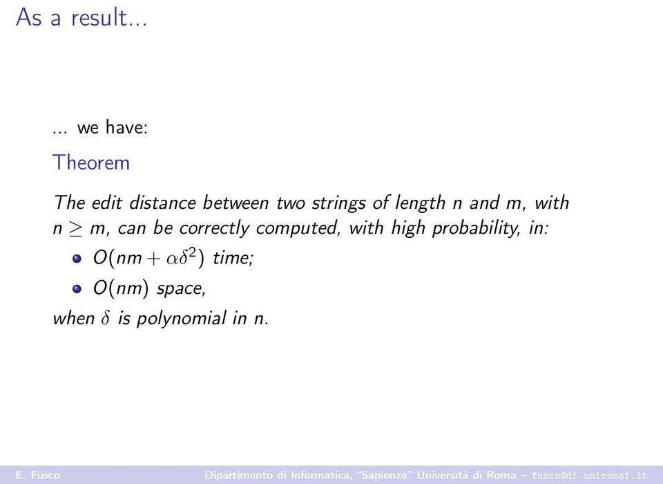 strings of length n and m, with n m, can be correctly