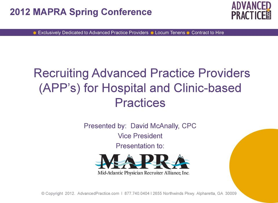 Providers (APP s) for Hospital and Clinic-based Practices