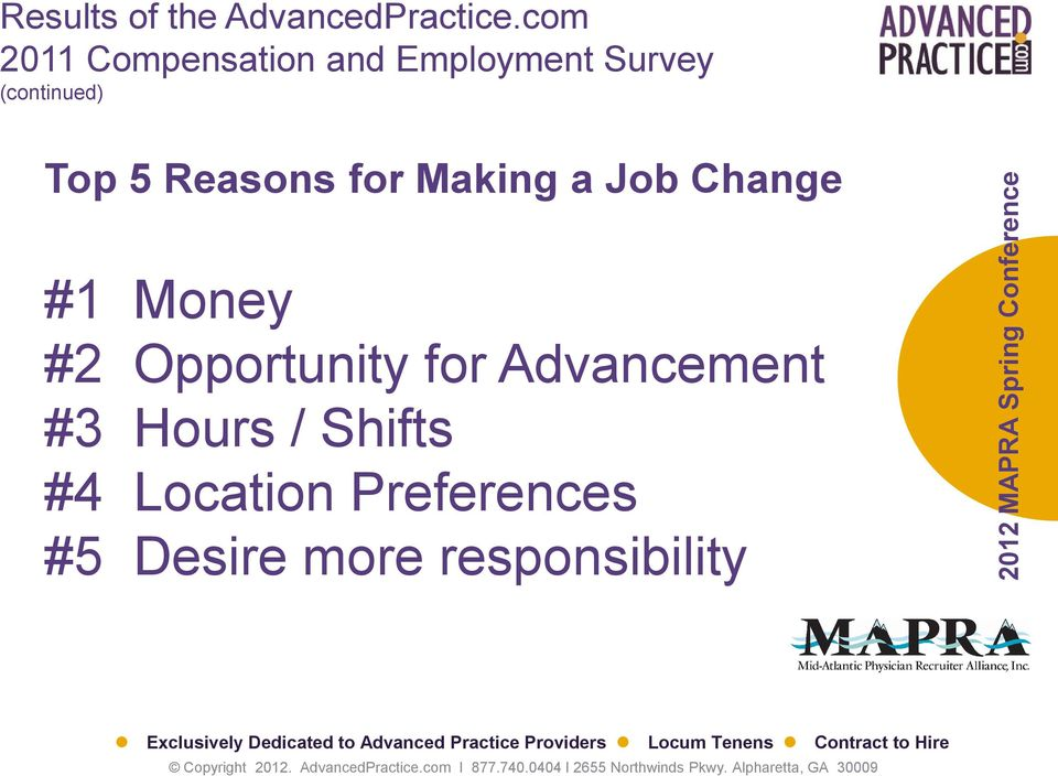 5 Reasons for Making a Job Change #1 Money #2 Opportunity