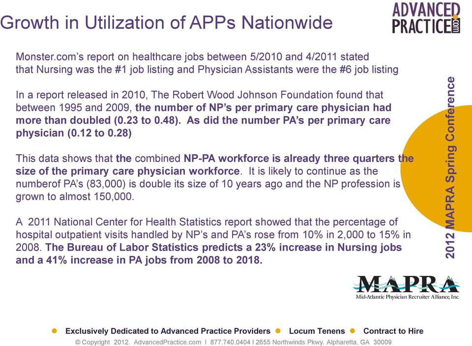 Johnson Foundation found that between 1995 and 2009, the number of NP s per primary care physician had more than doubled (0.23 to 0.48). As did the number PA s per primary care physician (0.12 to 0.