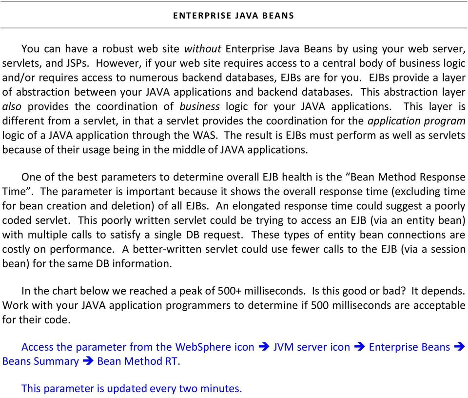 EJBs provide a layer of abstraction between your JAVA applications and backend databases. This abstraction layer also provides the coordination of business logic for your JAVA applications.