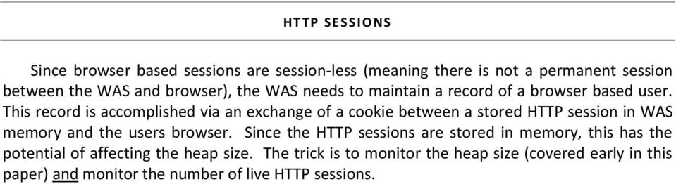 This record is accomplished via an exchange of a cookie between a stored HTTP session in WAS memory and the users browser.