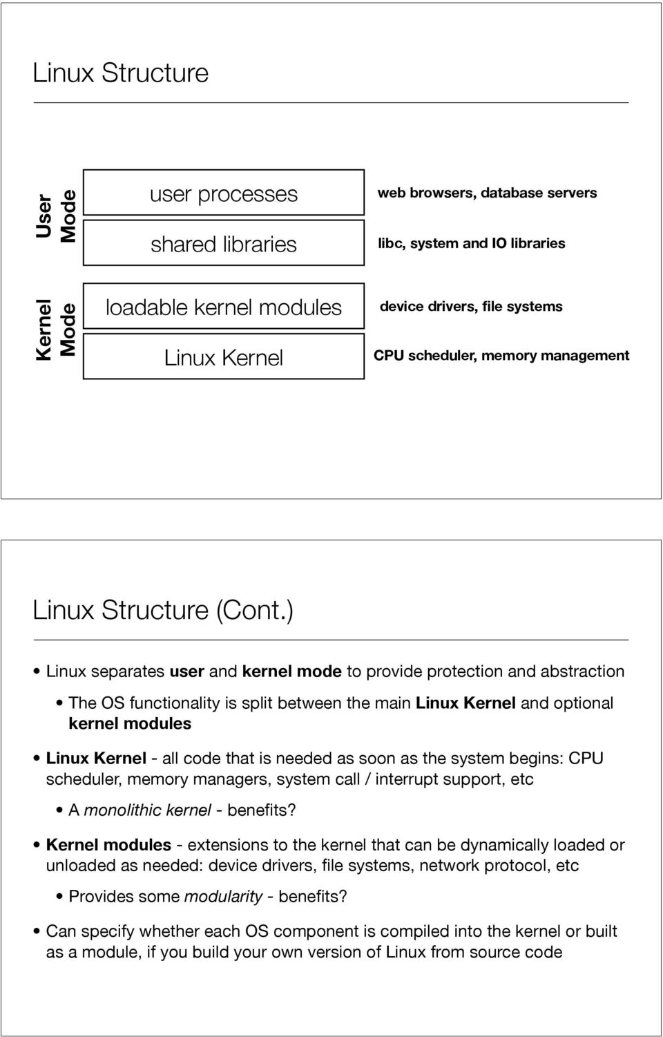 ) Linux separates user and kernel mode to provide protection and abstraction The OS functionality is split between the main Linux Kernel and optional kernel modules Linux Kernel - all code that is