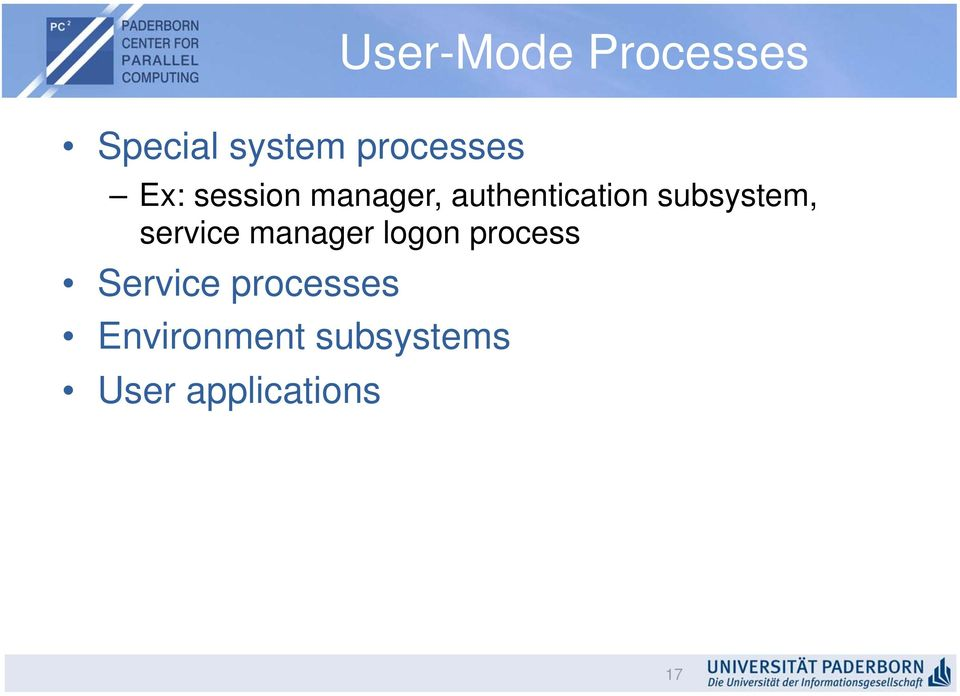 subsystem, service manager logon process