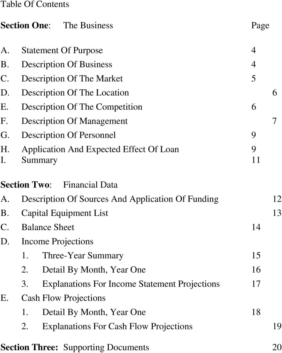 Summary 11 Section Two: Financial Data A. Description Of Sources And Application Of Funding 12 B. Capital Equipment List 13 C. Balance Sheet 14 D. Income Projections 1.