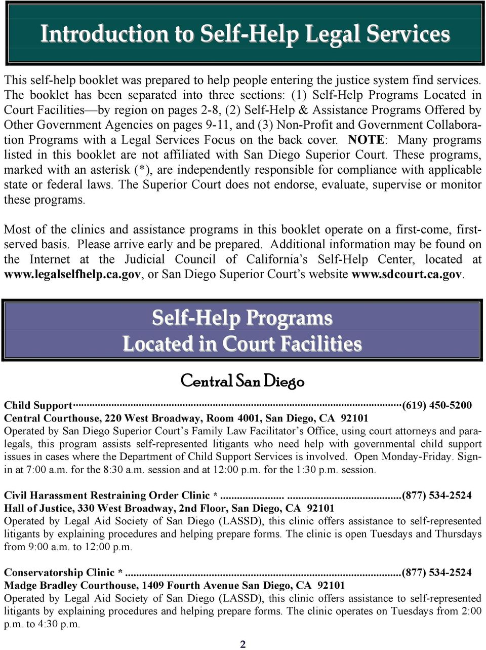 on pages 9-11, and (3) Non-Profit and Government Collaboration Programs with a Legal Services Focus on the back cover.