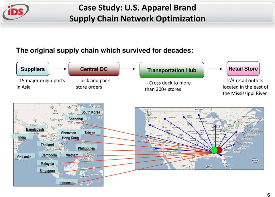 Apparel Brand Supply Chain Network Optimization The original supply chain which survived for decades: Suppliers Central