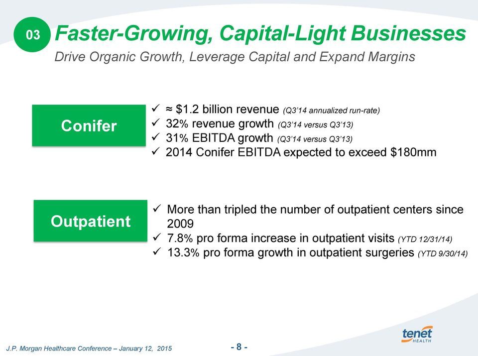 13) 2014 Conifer EBITDA expected to exceed $180mm Outpatient More than tripled the number of outpatient centers since