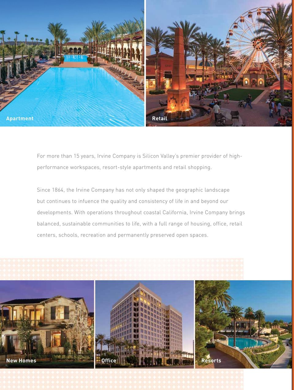 Since 1864, the Irvine Company has not only shaped the geographic landscape but continues to infuence the quality and consistency of life in and