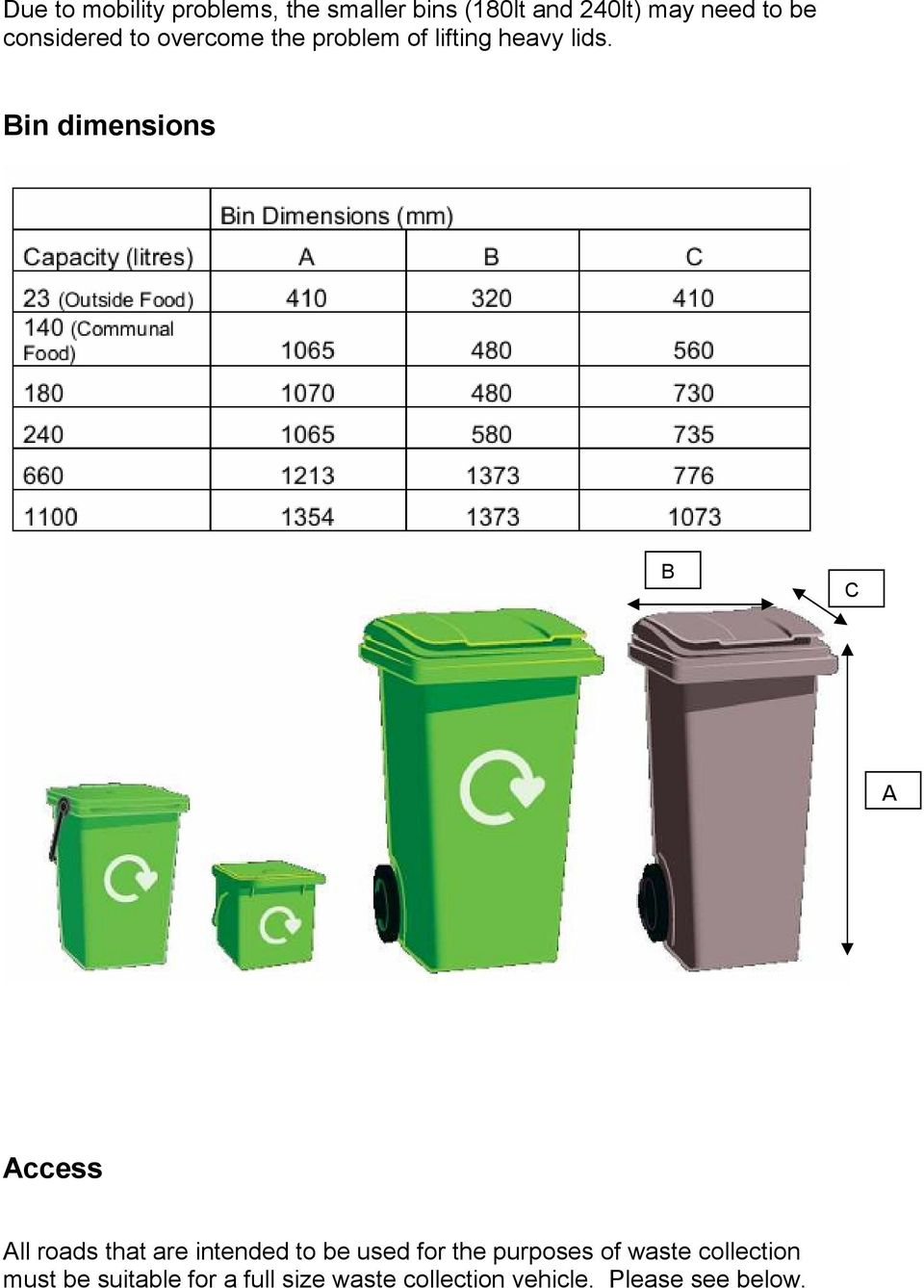 Bin dimensions B C A Access All roads that are intended to be used for the