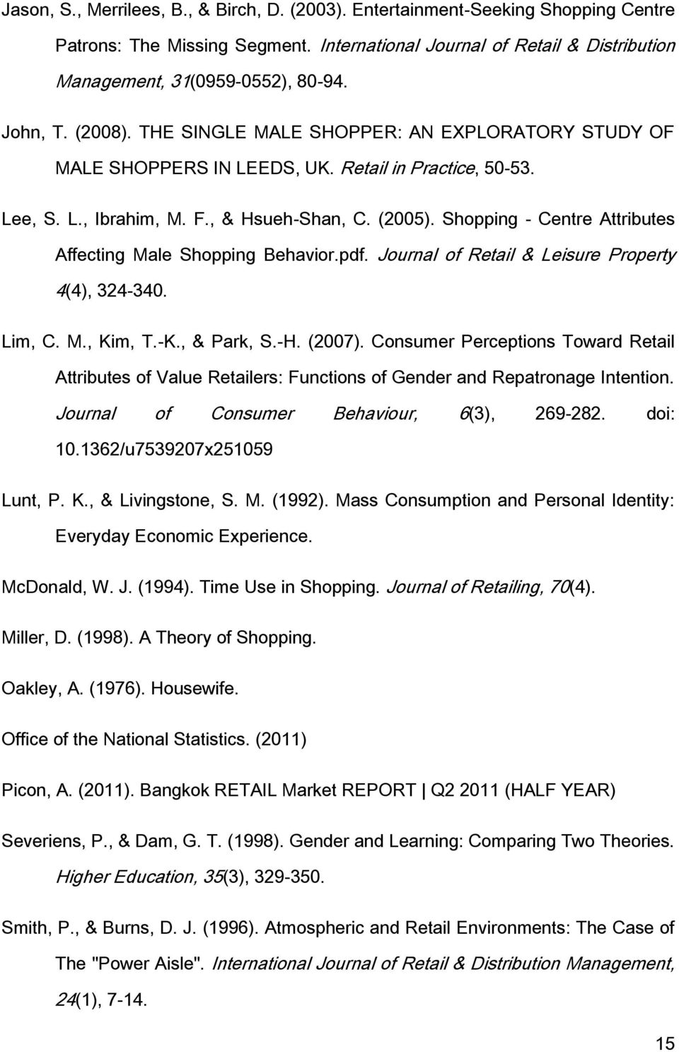 Shopping - Centre Attributes Affecting Male Shopping Behavior.pdf. Journal of Retail & Leisure Property 4(4), 324-340. Lim, C. M., Kim, T.-K., & Park, S.-H. (2007).