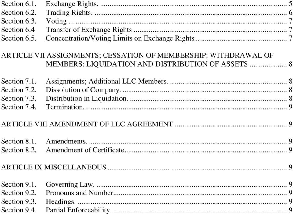 Dissolution of Company.... 8 Section 7.3. Distribution in Liquidation.... 8 Section 7.4. Termination.... 9 ARTICLE VIII AMENDMENT OF LLC AGREEMENT... 9 Section 8.1. Amendments.... 9 Section 8.2.